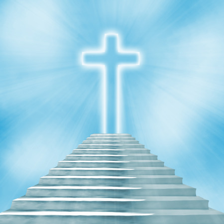 leading: Glowing holy cross and staircase leading to heaven or hell Stock Photo