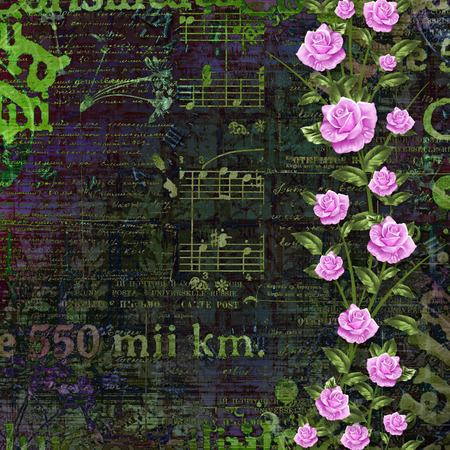 Abstract beautiful background in the style of mixed media with floral ornament, words and  figures photo