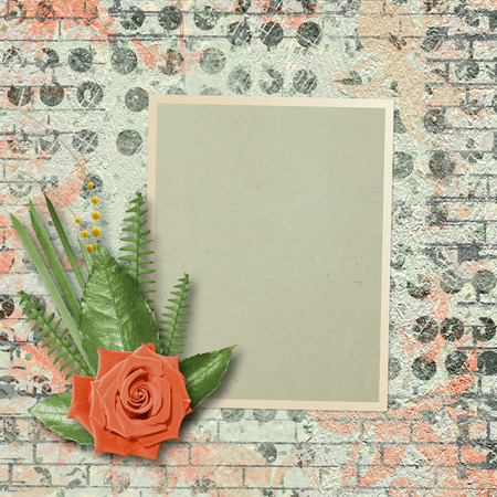 wedlock: Vintage card for congratulations and invitations with a bouquet of coral roses