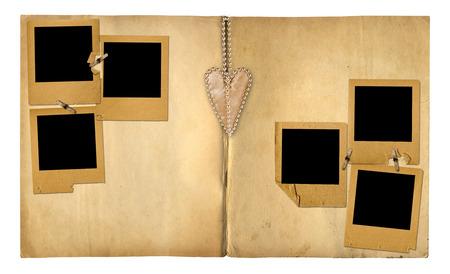 photoalbum: Open vintage photoalbum for photos on white isolated background Stock Photo