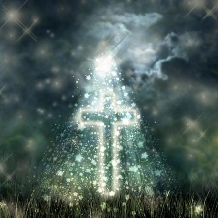 dark clouds: Holy Cross glowing bright moon on a dark sky the dark clouds