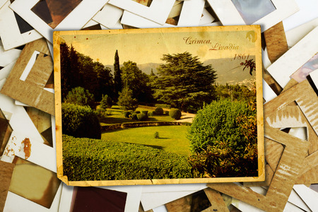alienated: Set of old slides photos and postcards with views of Livadia Park. Crimea