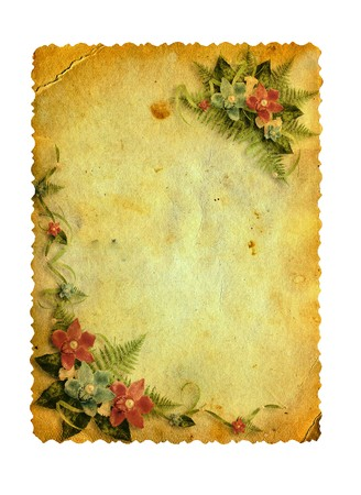 antiquarian: Grunge carved postcard with orchids on the white isolated background