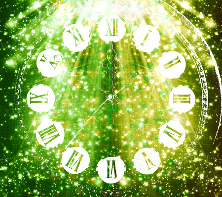 antique clock: Antique clock face on abstract multicolored background with blur bokeh and hearts for design Stock Photo