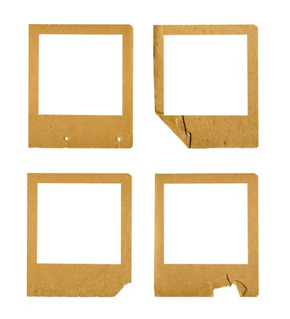 Set of old paper slides on white isolated background