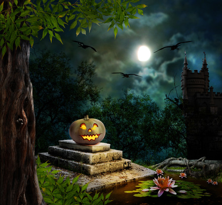 house at night: Halloween pumpkins in yard of old house night in bright moonlight