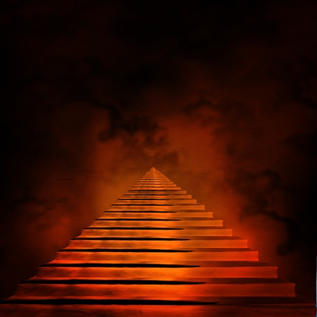 heaven and hell: Staircase leading to heaven or hell. Light at the End of the Tunnel