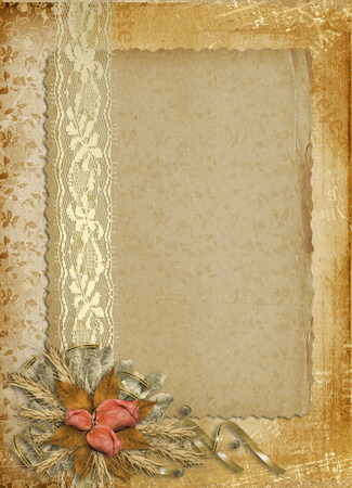 blank page: Card for invitation or congratulation with buttonhole and lace Stock Photo