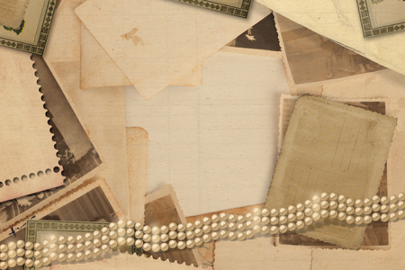old letters: Old vintage archive with photos, letters and pearls