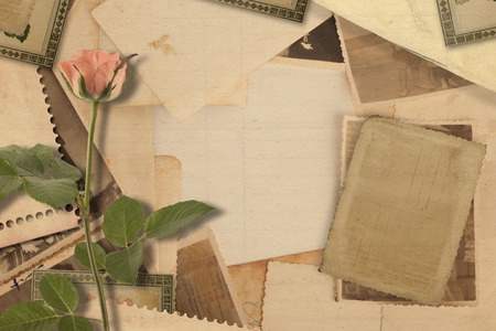 old letters: Old vintage archive with photos, letters and pink roses Stock Photo