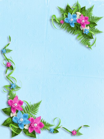 blue and green: Card for invitation or congratulation with blue and pink orchids