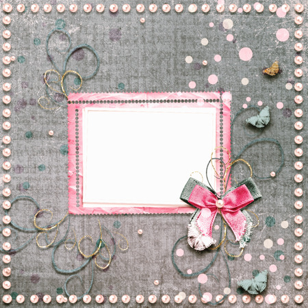 alienated: Old vintage photo album with beautiful bows, lace and flying butterflies