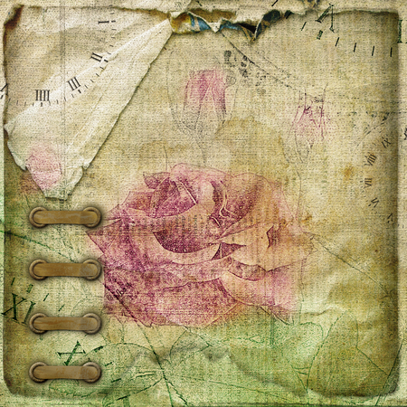 alienated: Old crumpled page vintage album with postcards, and drawing rose tied with  ribbon