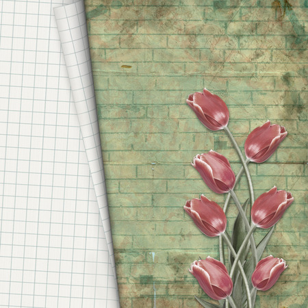 photoalbum: Red tulips with notebook sheet on  background of hand-drawn brick wall Stock Photo