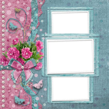 alienated: Old vintage photo album with beautiful pink peonies and butterflies flying Stock Photo