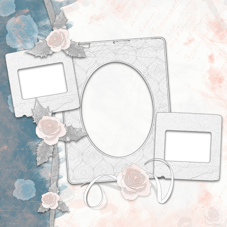 photoalbum: Old album with painted roses and frames in  style scrapbook