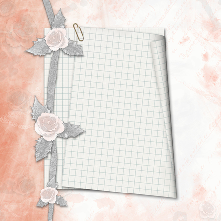 old album: Old album with hand drawn roses and notebook sheet in  scrapbook style