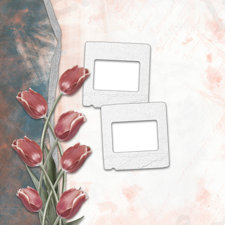 slides: Old paper hand-drawn background with slides and tulips