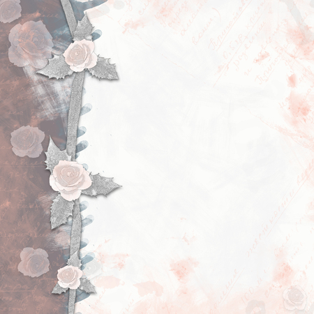photoalbum: Abstract background with roses painted in style scrapbook Stock Photo