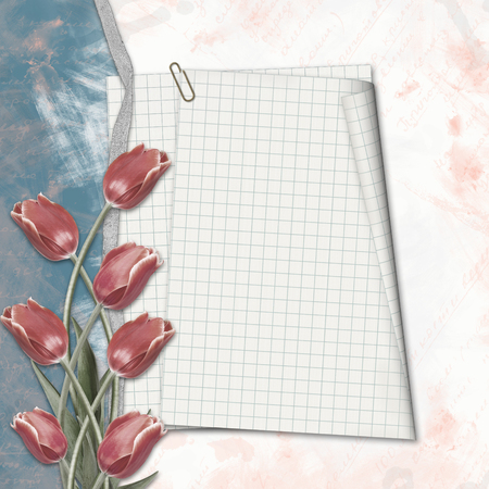photoalbum: Old paper hand-drawn background with with notebook sheet and tulips