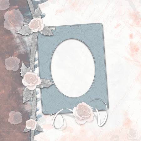 old album: Old album with painted roses and frames in  style scrapbook