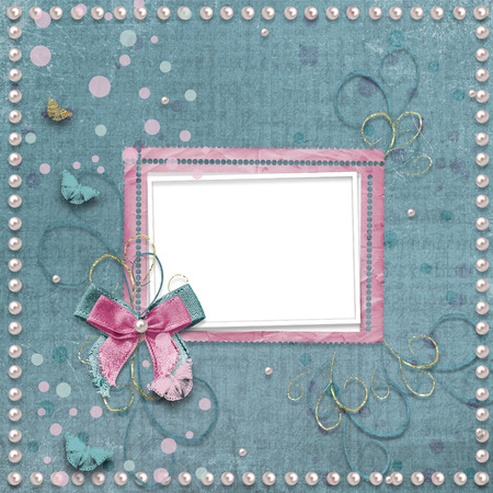vintage photo album: Old vintage photo album with beautiful bows, lace and flying butterflies