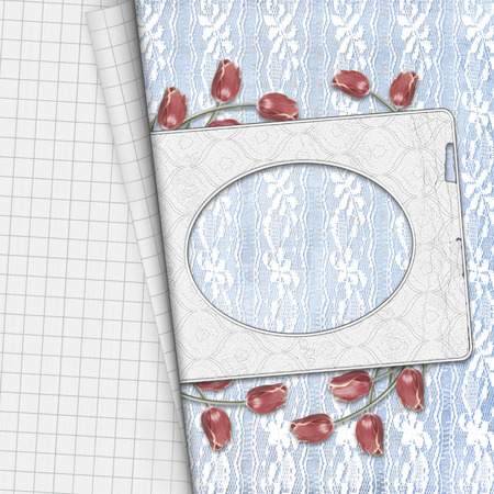 photoalbum: Red tulips with notebook sheet on lace background for greeting