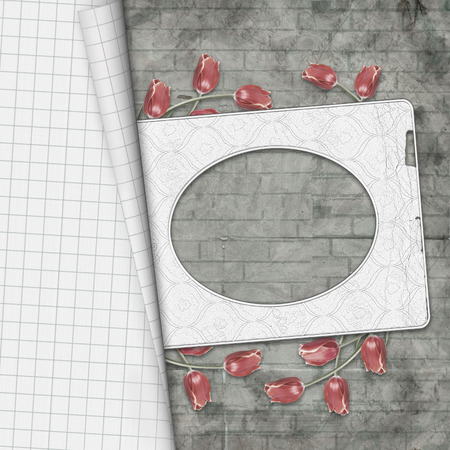 Red tulips and paper frame on  brick wall background drawn Stock Photo