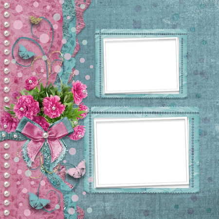 vintage photo album: Old vintage photo album with beautiful pink peonies and butterflies flying Stock Photo