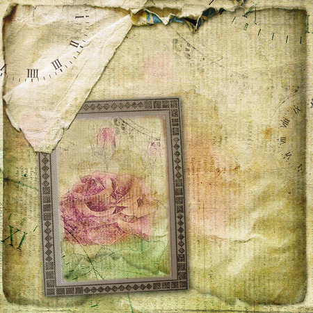 old wallpaper: Old torn crumpled paper  with hand drawn rose. Vintage background for design