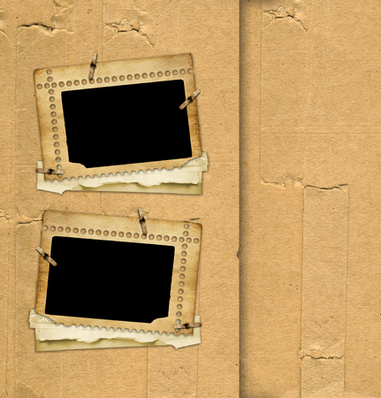 Old paper photo frame on the vintage abstract background