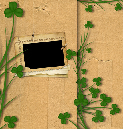 patric day: Greeting Card St. Patrick on old paper with green leaves of clover