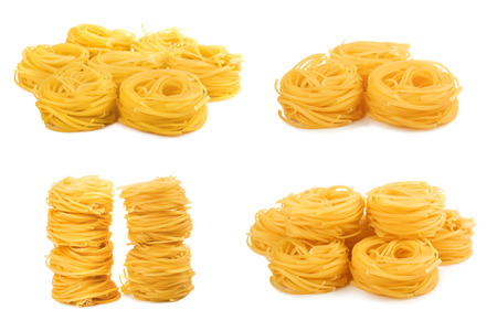 Set of pasta meal for dinner on white isolated background