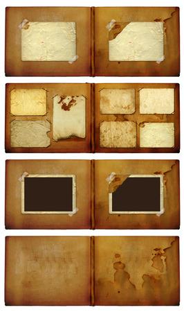 Set of vintage photoalbum for photos on white isolated background Stock Photo