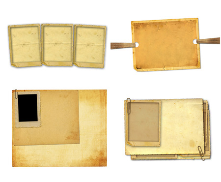 Set of old vintage paper with grunge frames for photos Stock Photo