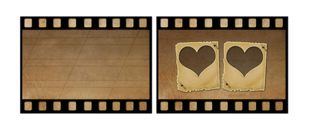 Set the old paper slides for photos on rusty abstract background  Stock Photo