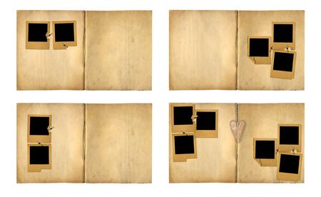 Set the  open vintage photoalbum for photos on white isolated background