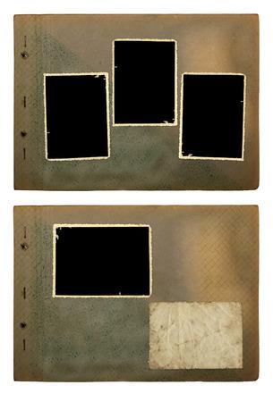 scotch: Set of vintage photoalbum for photos on white isolated background