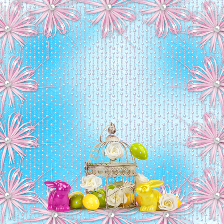 Easter eggs and funny bunny  on abstract blue background Stock Photo