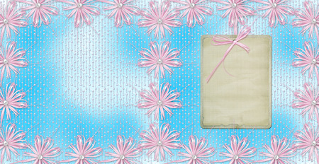 Blue card for invitation or congratulation with pink bow and ribbons