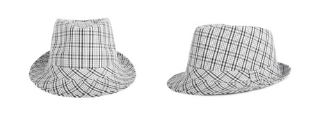 Set monochrome checked hat for the summer on an isolated background Stock Photo