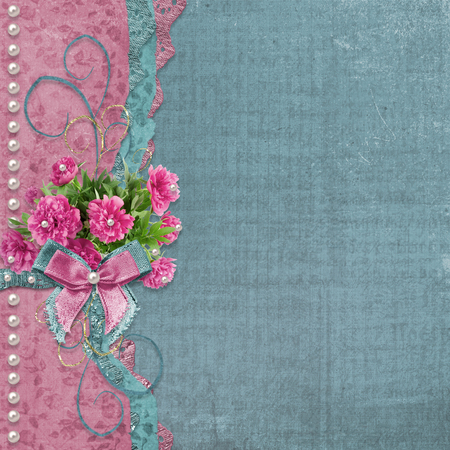 Old vintage photo album with beautiful pink peonies Stock Photo