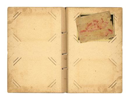 Vintage photoalbum for photos on white isolated background