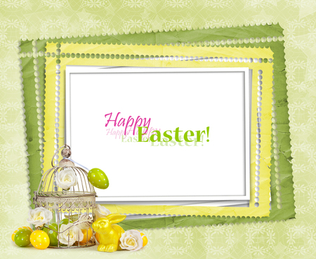 Easter eggs and funny bunny  on abstract green background