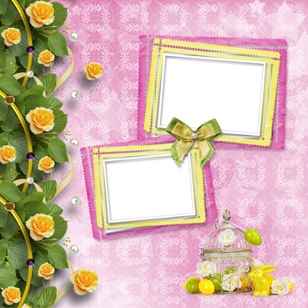Easter eggs and funny bunny  on abstract pink background