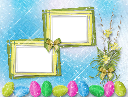 Bouquet of soft twigs of willow and narcissus with easter egg on  beautiful abstract blue background