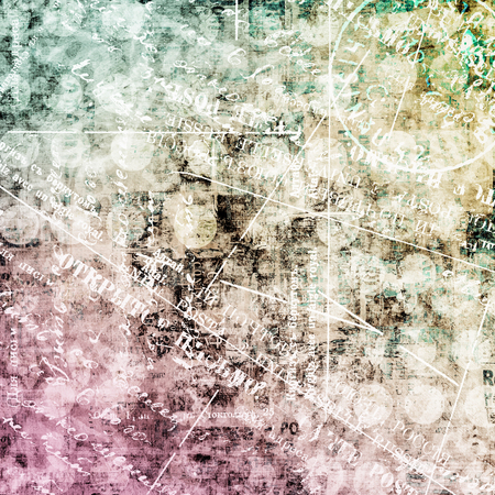 Abstract beautiful background in the style of mixed media with blot, word and handwriting Stock Photo