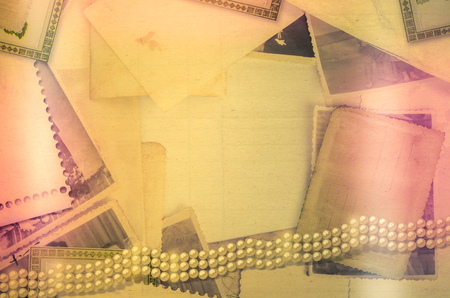 Old vintage archive with photos, letters and pearls
