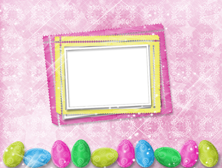 Pastel background with multicolored eggs to celebrate Easter Stock Photo