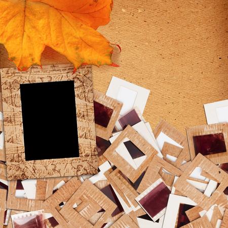 Set of old vintage slides, photos and film with autumn leaf  in grunge paper album